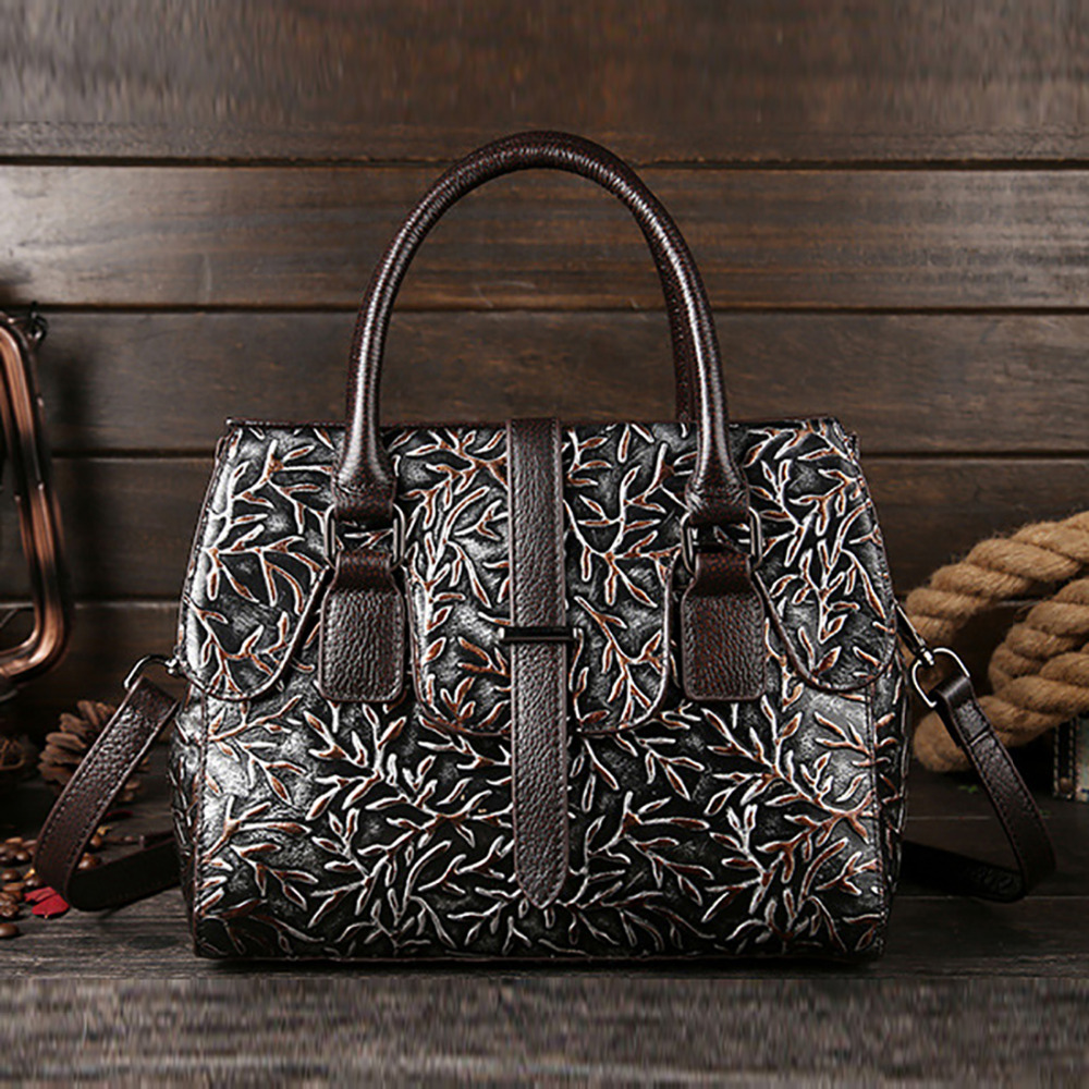 100% Genuine Leather Women Handbag Natural Cowhide Vintage Floral Pattern Ladies Tote Bag Famous Brand Messenger Shoulder Bags100% Genuine Leather Women Handbag Natural Cowhide Vintage Floral Pattern Ladies Tote Bag Famous Brand Messenger Shoulder Bags