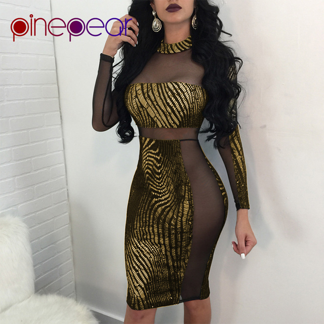 55070ad568 US $12.95 19% OFF|PinePear 2019 New Winter Women's Gold Sequin Black Mesh  Dress Sexy Hollow Out Long Sleeve Women Luxurious Night Party Club Wear-in  ...