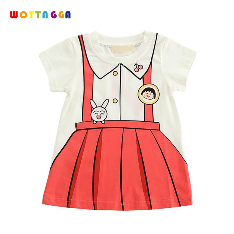 WOTTAGGA 2019 Print Suspenders Baby Girls T Shirt For Summer Infant Kids Girls T Shirts Clothes Cotton Toddler Tops in Tees from Mother Kids