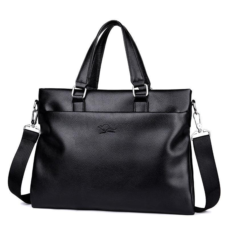 Men Briefcase PU Leather Laptop Bag Men Messenger Bags Travel Business Male Simple Shoulder Bags Casual Tote