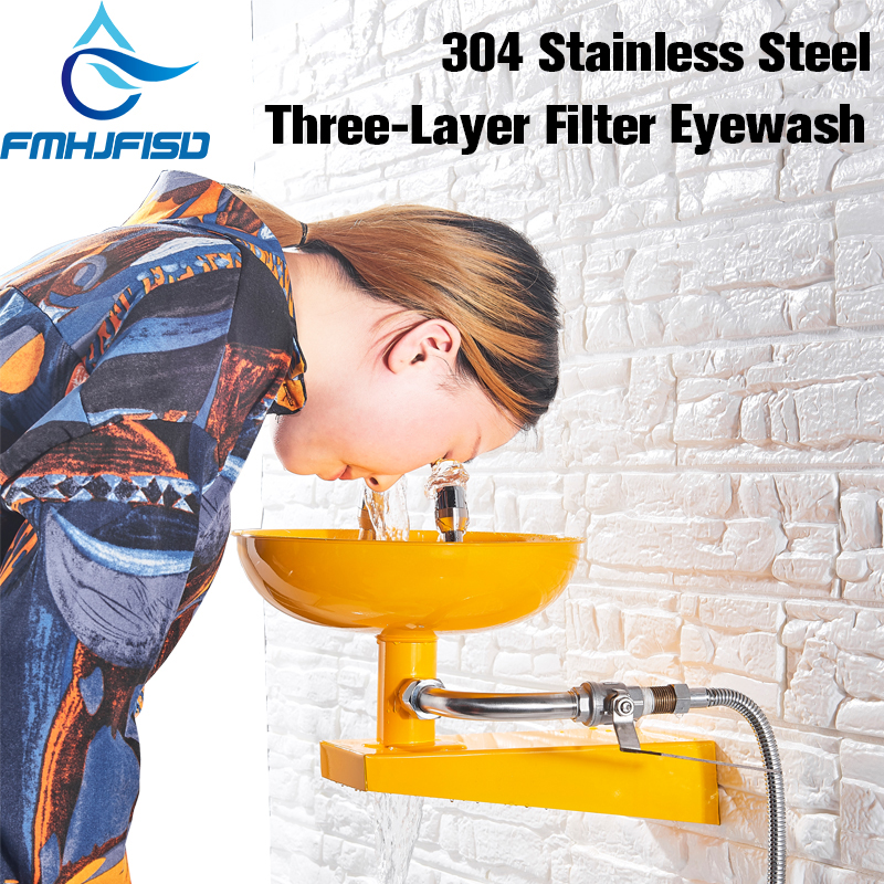 FMHJFISD 304 Stainless Steel Emergency Wall Mounted Eyewash Station Double mouth Y