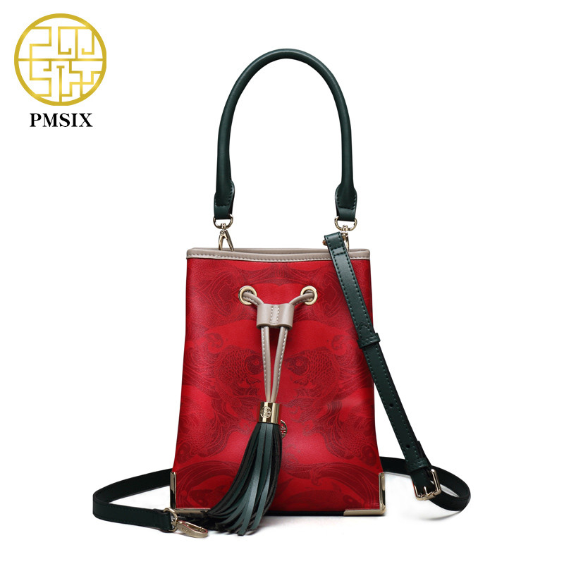 Pmsix 2018 NEW Autumn& Winter Handbag Tassel Cow Leather Bucket shoulder Bag Printing soft Casual Crossbody Red Embossed Handbag pmsix 2018 new autumn