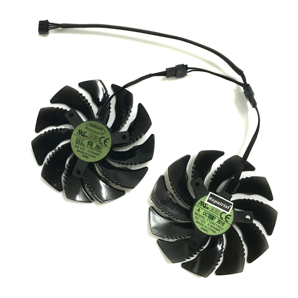 GeForce GTX 1050/1060 GPU Cooler T129215SU 90mm Graphics fan For GIGABYTE GTX1050 GTX1060 D5 Windforce G1 Cards As Replacement computer graphics cards cooler fan colorful 75mm 12v 0 18a replacements for 9800gt 9600gt graphics cards fans red color p0 11