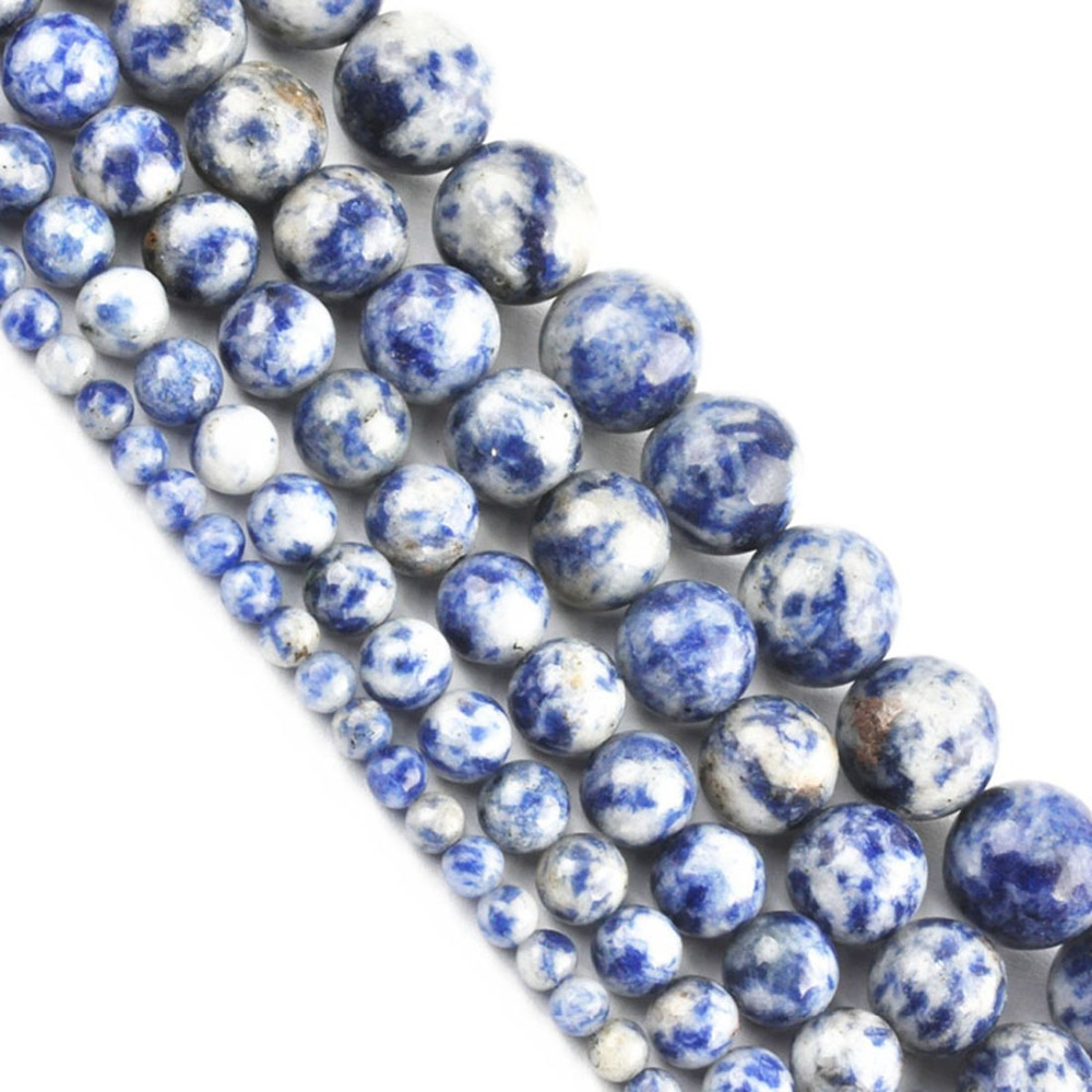 LNRRABC Hot Sale Blue DIY Natural Stone Round Loose Beads for Making Jewelry 16 Strand 4 6 8 10 12 MM 1 piece LIF