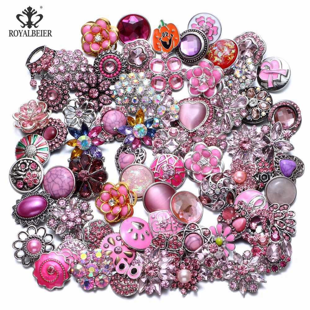 50 шт./лот, смешанный металл и стекло, 18 мм, кнопки, ювелирное изделие, сделай сам, стразы, кнопки, подвески для кнопки сделай сам, браслет, ювелирное изделие - Окраска металла: Top Pink Series