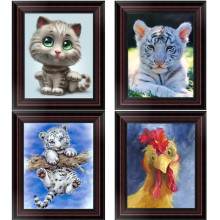 FineTime Animal Tiger Cat 5D DIY Diamond Painting Partial Drill Diamond Embroidery Cross Stitch Mosaic Painting finetime white tiger 5d diy diamond painting partial drill diamond embroidery cross stitch animal mosaic painting