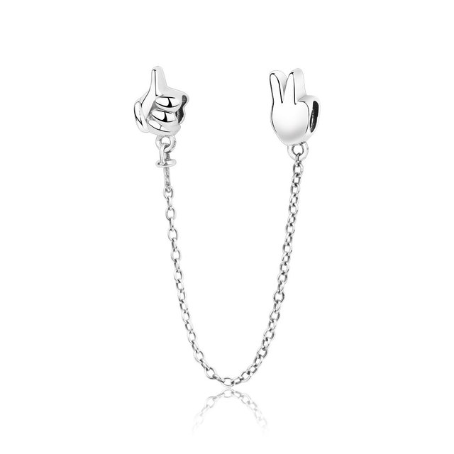 be8cbd719ad 2018 Summer Collection Gesture Safety Chain Charm Fits Original Pandora  Charms Bracelet 925 Sterling Silver DIY