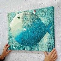 프레임 사진 그림 홈 장식 거실 DIY 캔버스 유화 벽 예술 40*50 센치메터 물고기 만화 아이