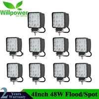 10 Uds. 4 pulgadas 48W lámpara de luz LED de obra coche 4x4 ATV LED buceo luces de trabajo camión 12V conducción faros antiniebla Tractor Offroad