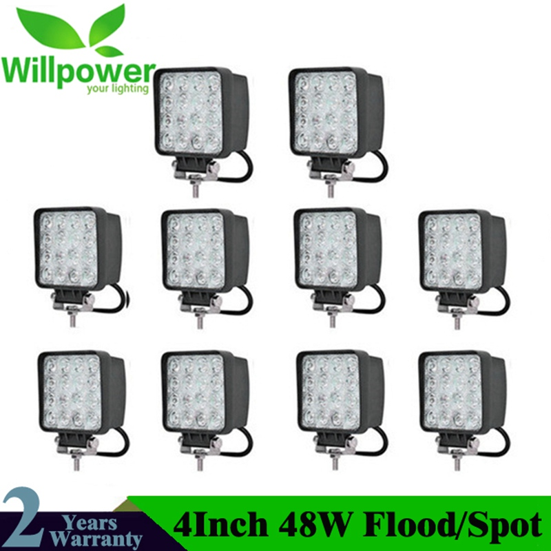 10 pièces 4inch 48W LED lampe de travail voiture 4x4 ATV LED plongée lumières de travail camion 12V conduite brouillard projecteurs tracteur Offroad