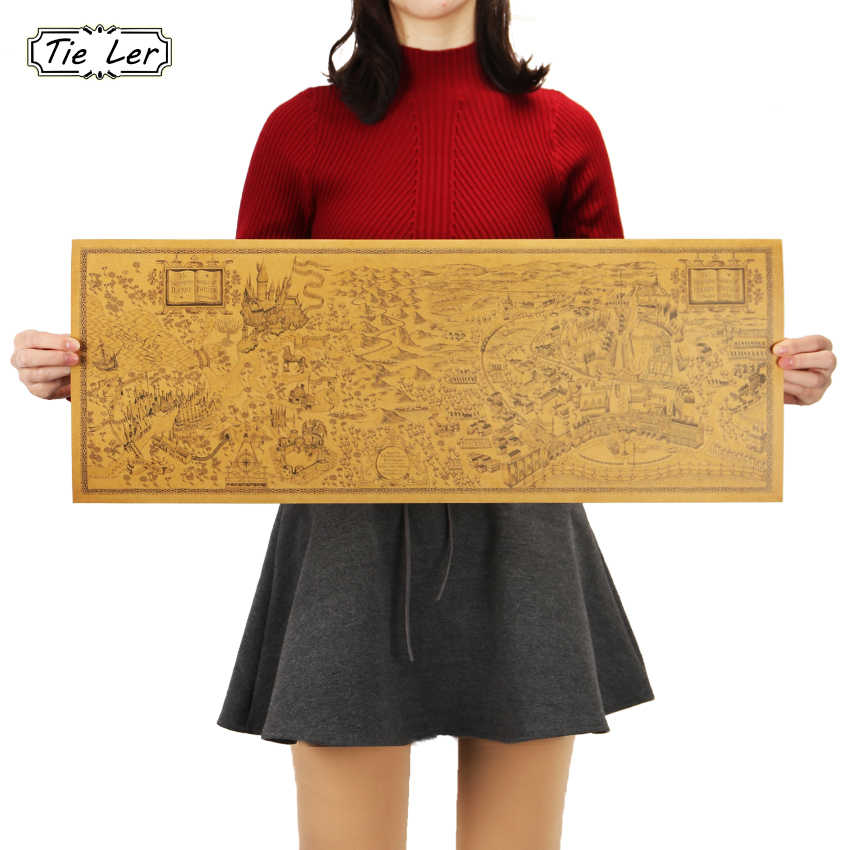 Плоский стикер на стену 26,5*71 см Волшебная карта мира знаменитый вид Крафт-бумага постер для бара/кафе домашний декор в стиле ретро картина стикер на стену