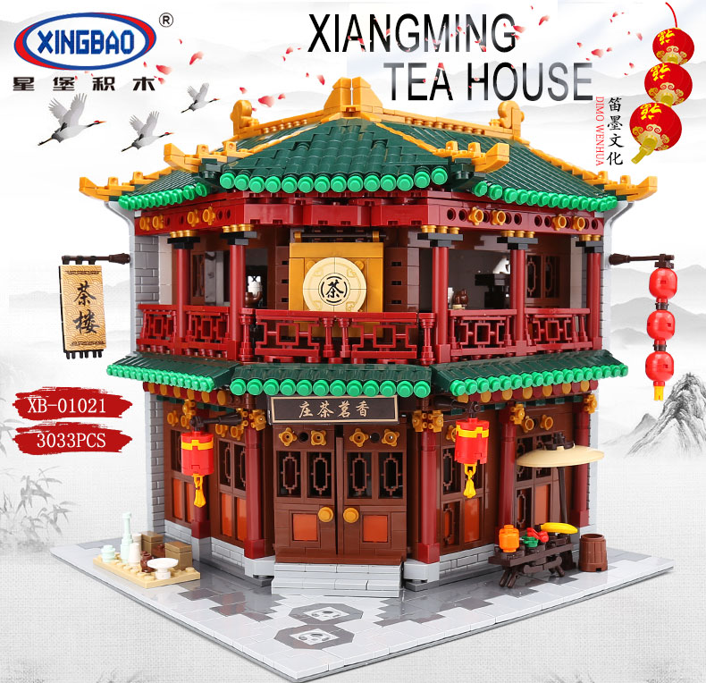 DHL XINGBAO 01021 3033pcs Chinese Building Series The Toon Tea House Set Building Blocks Bricks Kids