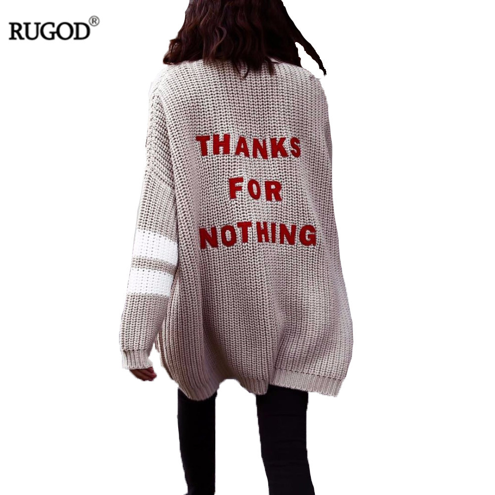 Rugod 2018 Fashion Letter Embroidery Cardigan Feminino Women Winter Warm Sweater Female Casual Long Cardigan Poncho