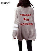 Rugod 2017 New Autumn Fashion Cashmere Cardigan Women Warm Sweaters Female Casual Letter Print Knitted Pull
