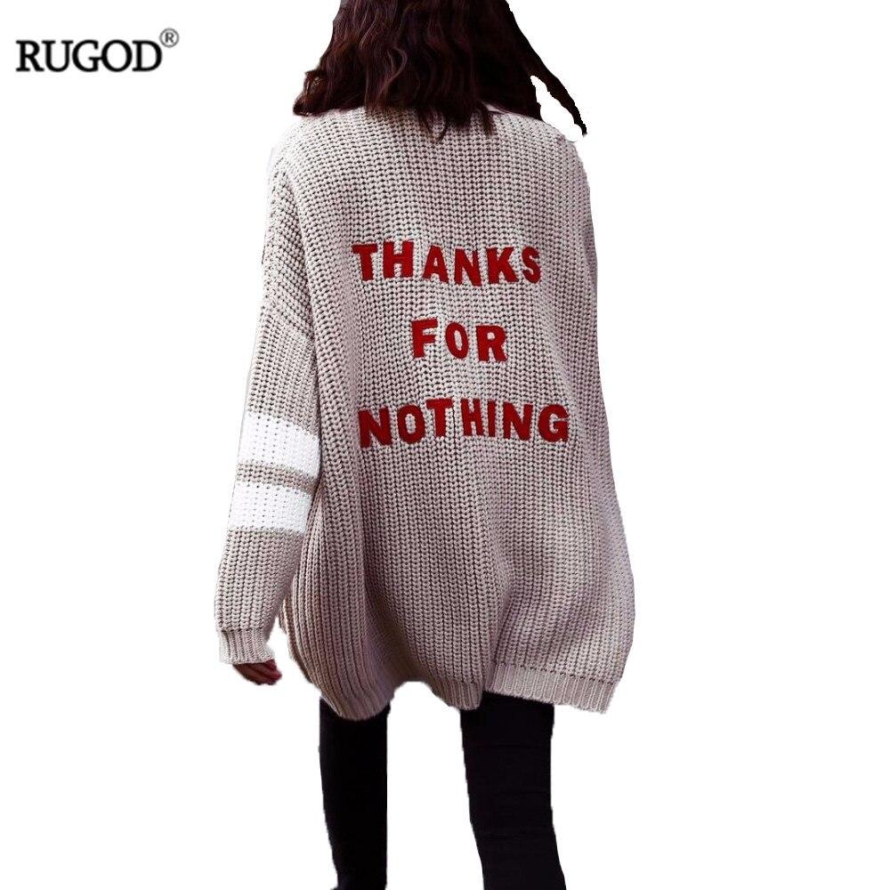 Rugod 2018 moda carta bordado Cardigan femenino mujeres invierno cálido suéter mujer Casual Cardigan largo Poncho Pull Femme