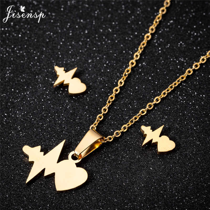 Jisensp Stainless Steel Heartbeat Pendant Necklace Bijoux Femme Fashion Women Jewelry Set Love Heart Earring Geometric Ear Studs