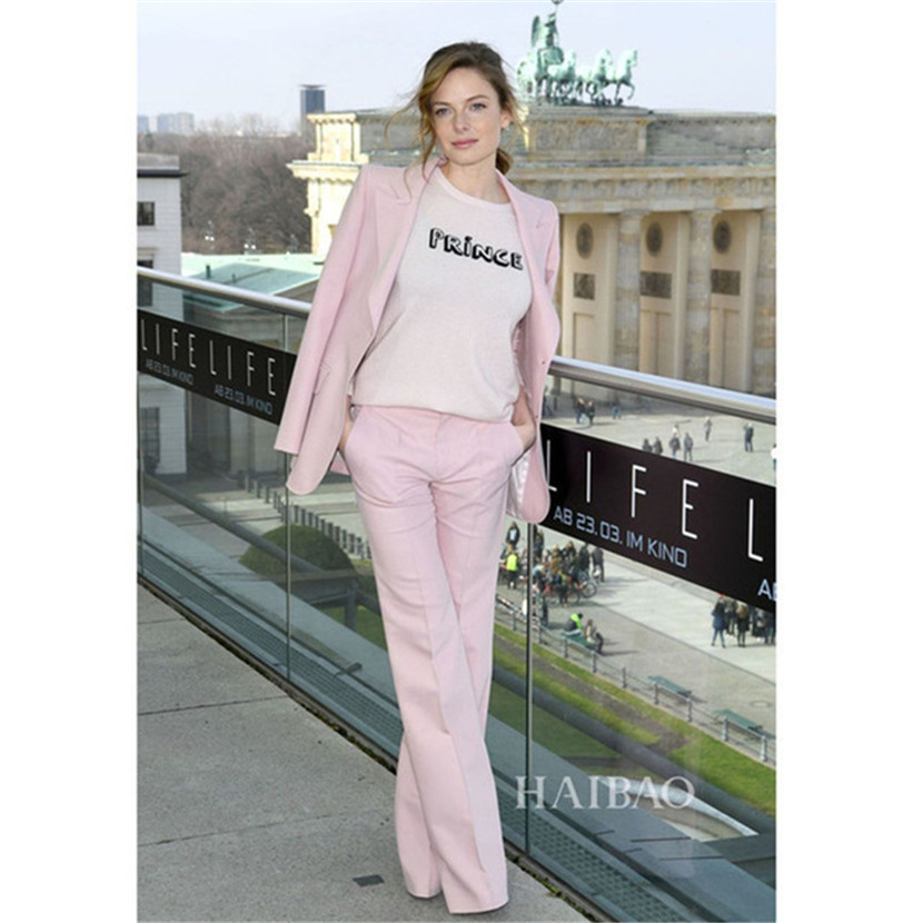 New fashion high quality women's women's business office formal suit women's pink suit two piece suit (jacket + pants)