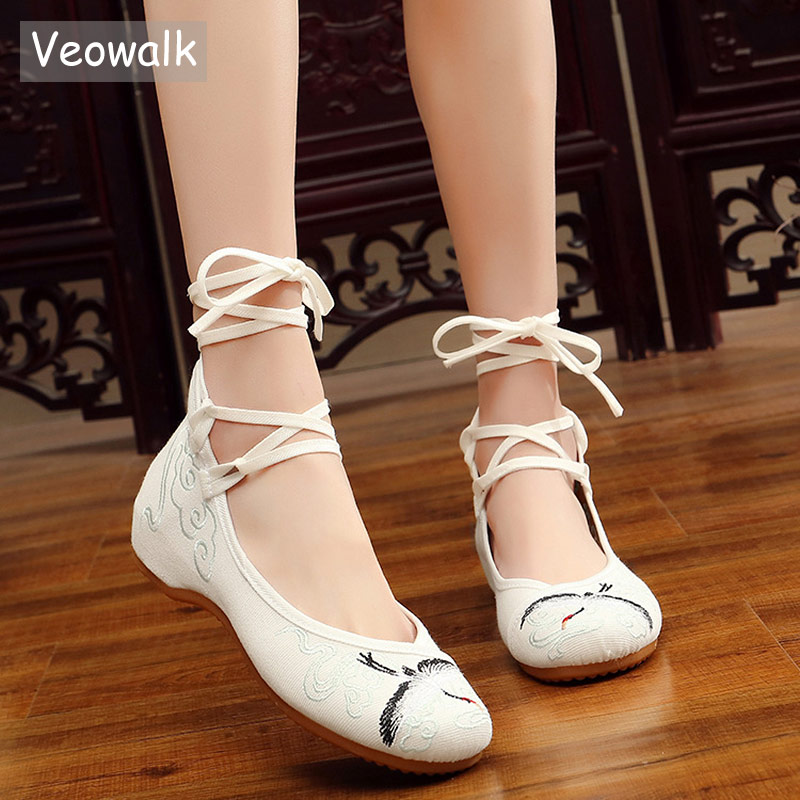 Veowalk Longevous Crane Embroidered Lace Strap Canvas Ballet Flats Handmade Vintage Ladies Casual Comfortable Shoes White crane embroidered sweatshirt