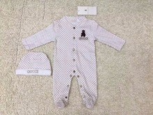 New Baby two-piece romper suit Baby infant Cartoon embroidery Package foot jumpsuits +Hat set  wholesale