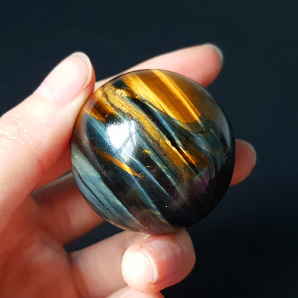 Dropshipping Natural yellow blue Tiger eye Crystal Ball Magic quartz Sphere with Stand reiki Healing fengshui