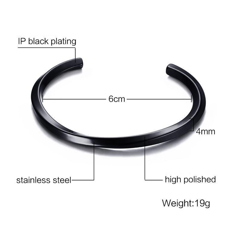 Silver Black Manchet Bangle för män och kvinnor Kvalitet 316L - Märkessmycken - Foto 2