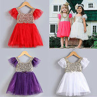 2016 Fashion NEW Baby Kid Girls Princess Sequins Dresses Toddler Tulle Lace Tutu Lovely Dress