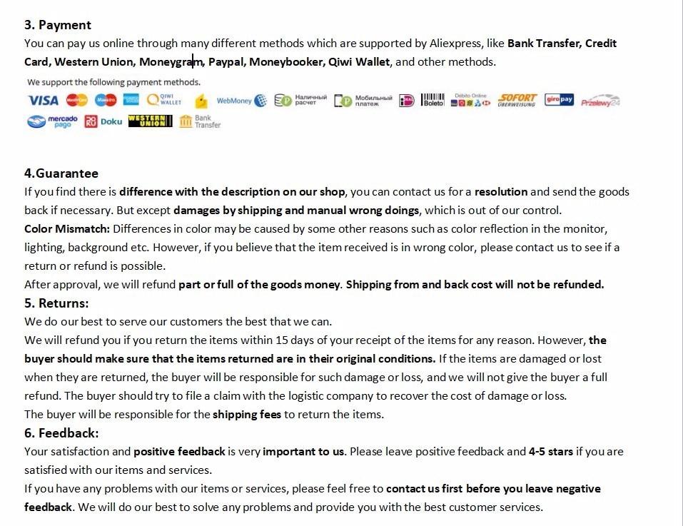 Payment&Guarantee&Returns&Feedback