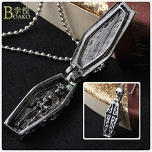 BOAKO Skull Stainless Steel Necklace For Men Punk Cross Pendant Halloween Skeleton Gothic Jewelry B5