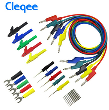 цена на 2018 Cleqee P1036B 4mm Banana to Banana Plug Test Lead Kit for Multimeter Match Alligator clip U-type & puncture test porbe kit