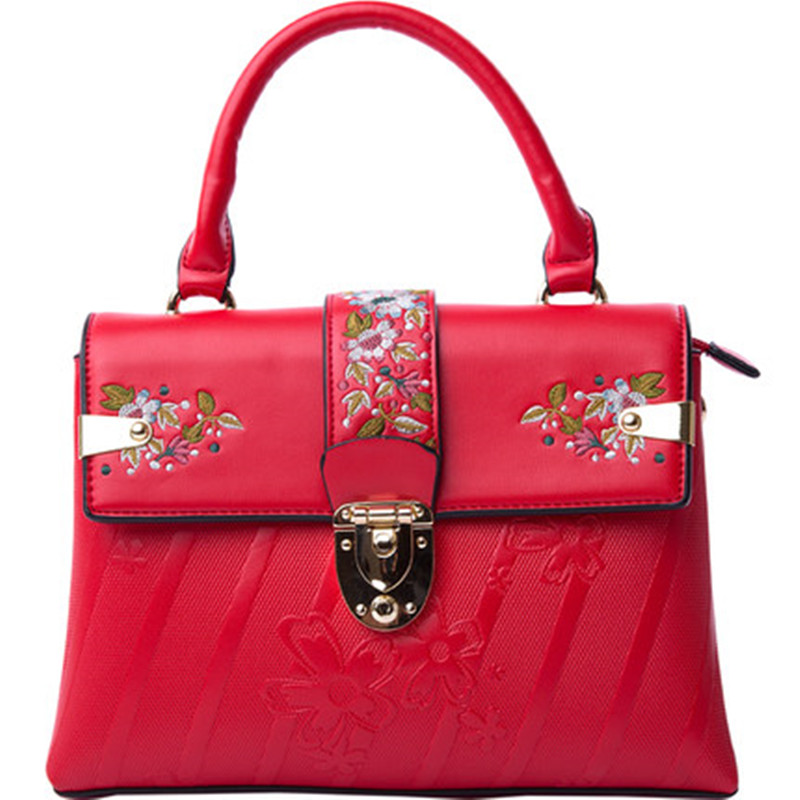2018 New Fashion PU Leather Embroidery Embossing Women Casual Tote Shoulder Handbags Messenger Bags Crossbody Red Pink Blue Bag