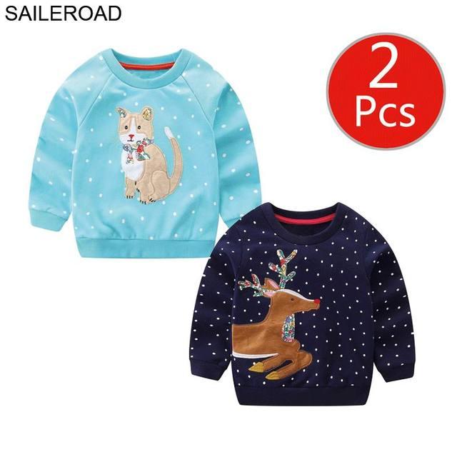 SAILEROAD 2 pcs สัตว์สาวเสื้อกันหนาวคริสต์มาสกวางเด็ก Hoodies ฤดูใบไม้ร่วงเด็กเล็กๆผ้าฝ้ายเสื้อกันหนาวเด็ก 7 ปี