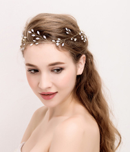 TUANMING New Fashion Wedding Hair Jewelry Gold Pearl Tiaras Headband Crystal Milk Rhinestone Bridal Hair Accessories Hair Wear