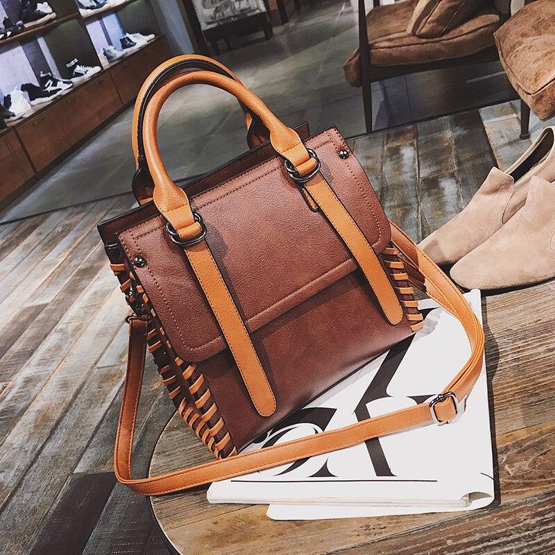 Women Handbags 2017 Luxuy Bag Designer Handbag High Quality Leather Shoulder Bag Strap Adjustable Female Vintage Weave 2