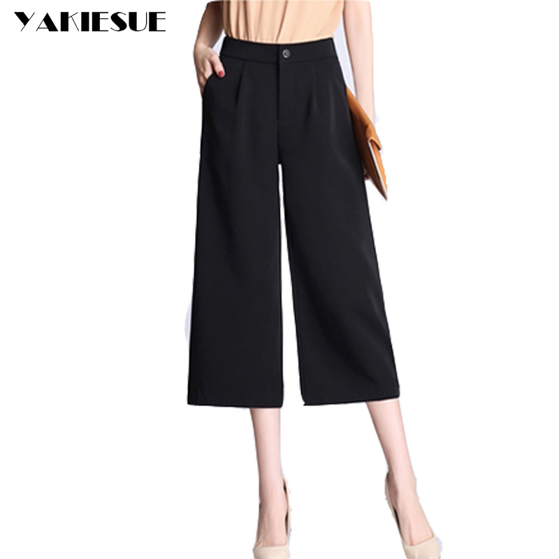 Wide leg pants capris women loose high waist elastic calf length straight capri pants casual OL office work wear female trousers