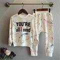 Meninas meninos conjuntos de roupas de outono inverno 2017 Nova carta padrão de cor crianças roupas crianças fresco O-pescoço Roupas manga terno Completo