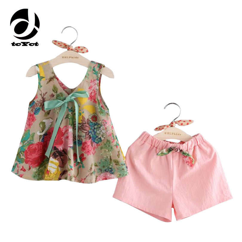 2017 Baby Girl Clothing Sets Vest+Shorts For Girl Summer Style Sleeveless Floral Print Kids Clothes Toddler Girls Suit  2-7Ages baby girls summer suits sleeveless vest shirt cute floral harem pants floral sets