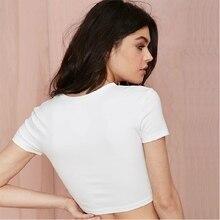 2017 Short Sleeve Slim White Cropped T Shirt