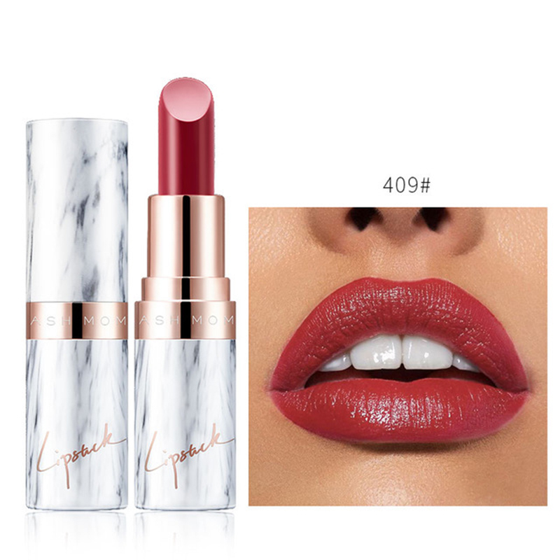 1 Pc Sexy Red Brown Moisturizing Lipstick Marble Velvet Matte Long Lasting Lip Stick Pigments Women Makeup Cosmetics TSLM2