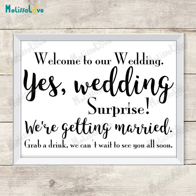 Welcome To Our Wedding Surprise Married Decal Board Reception Sign Sticker Removable Vinyl Wall Stickers