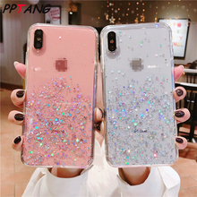 Glitter Bling Sequins for iphone 7 8 Plus 6 6s Transparent Case For X XR XS MAX phone cover bag