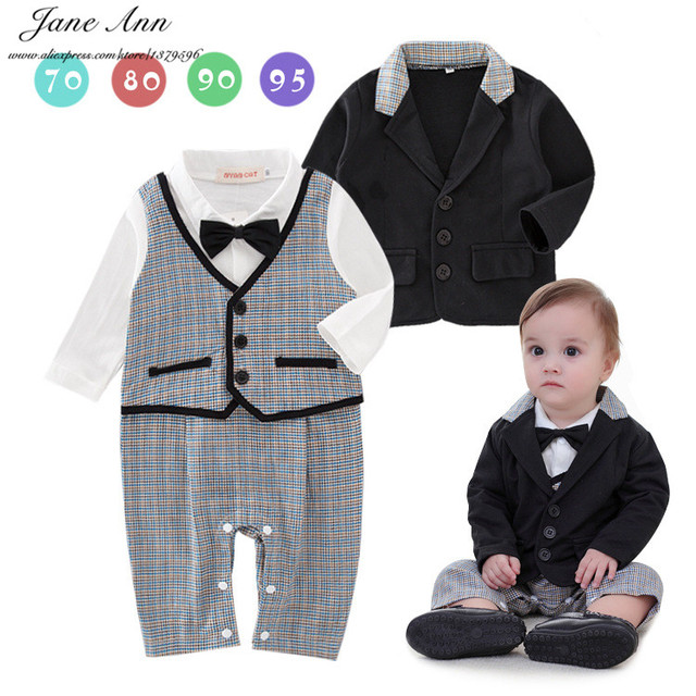 Baby boy cotton spring outfit gentlemen bow tie romper+jacket plaid jumpsuit infant wedding party birthday clothes