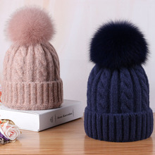 Women hat Real  fox fur 15CM pom poms ball Keep warm winter for women girl s wool knitt