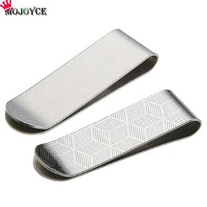 Metal Stainless Steel Money Clips Folder Stripe Print Silver Cash Clamp Holder Wallet Slim Card ID Money Clips Men Women