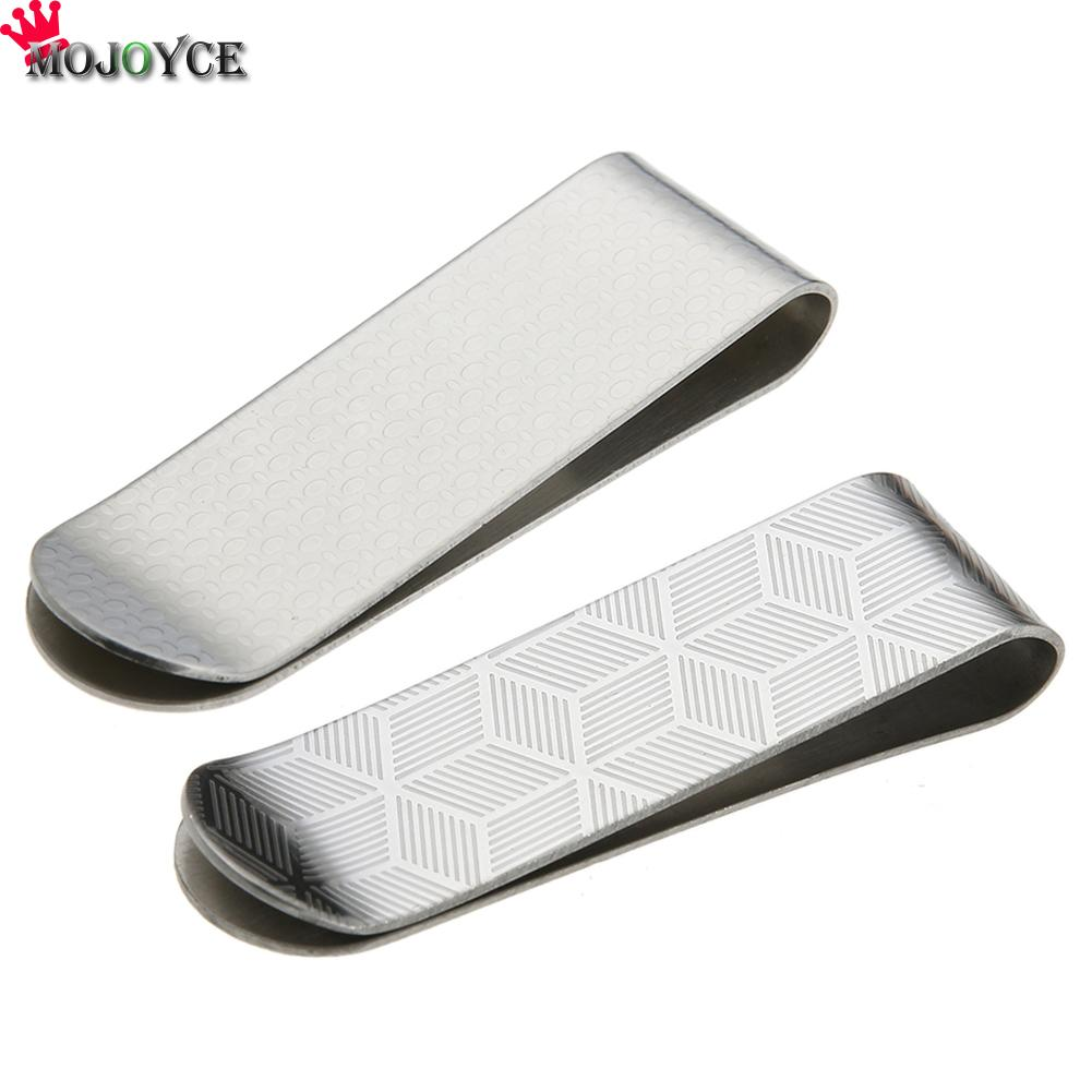 Metal Stainless Steel Money Clips Folder Stripe Print Silver Cash Clamp Holder Wallet Slim Card ID Money Clips Men Women