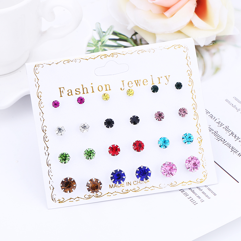 WNGMNGL Hot Sale 2019 Fashion Jewelry Simple Round 12 Pair Stud Earring And Exquisite Multicolor Cystal Stud Earrings For Women in Stud Earrings from Jewelry Accessories