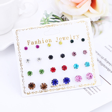 WNGMNGL Hot Sale 2019 Fashion Jewelry Simple Round 12 Pair Stud Earring And Exquisite Multicolor Cystal Earrings For Women