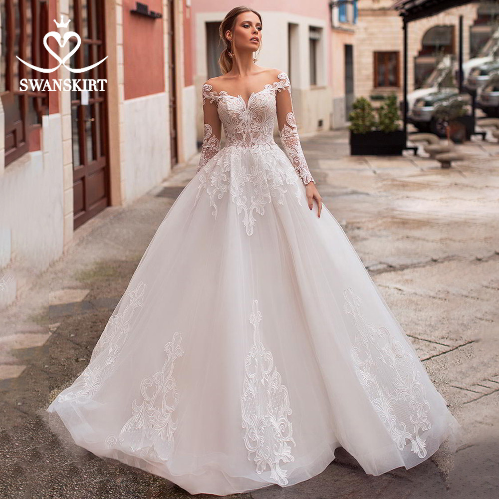 Swanskirt Boho Sweetheart Wedding Dress 2019 Long Sleeve Bride Appliques A-Line Bridal Gown Plus Size Vestido De Noiva N110