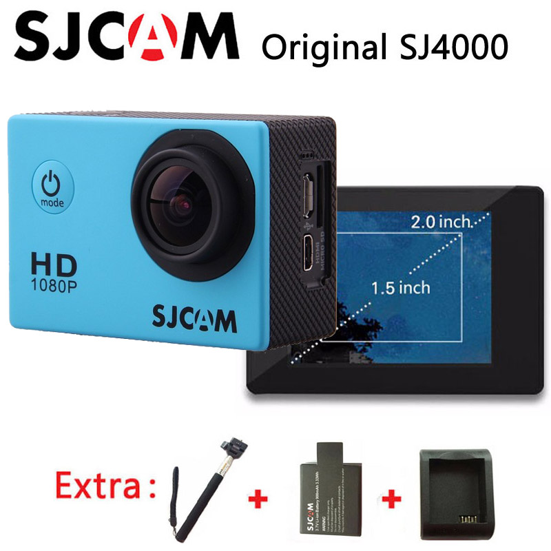 Original SJCAM SJ4000 Sport Action Camera Waterproof Full HD 1080P 30fps sj cam mini car dvr +Extra 1pcs battery+Charger+Monopod