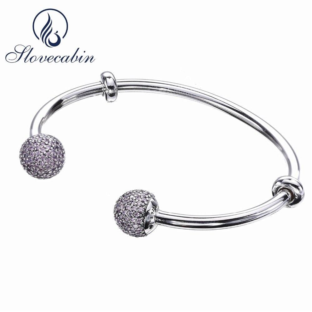Slovecabin 925 argent Sterling 2018 rose casquettes CZ Zircon ouvert Bracelet Bracelet femmes charme bracelets pour femme fabrication de bijoux