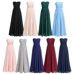Image 3 - TiaoBug Women Adults Strapless Chiffon Bridesmaid Dress Long Tulle Maxi Floor Length Dresses Prom Gown Princess Summer Dresses